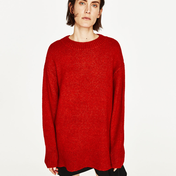 super popolare 6e734 db6c6 Zara Knit | Oversized Red Sweater
